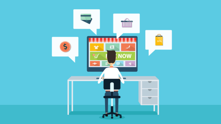vector business online shopping and e-marketing